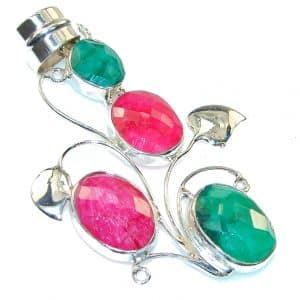 Amazing Pink Ruby & Emerald Sterling Silver Pendant