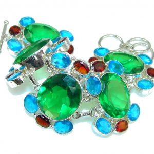 Aura Of Beauty! Created Green Emerald Sterling Silver Bracelet