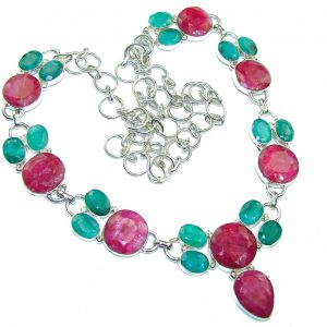 Aura Of Beauty! Green Emerald, Ruby Sterling Silver Necklace