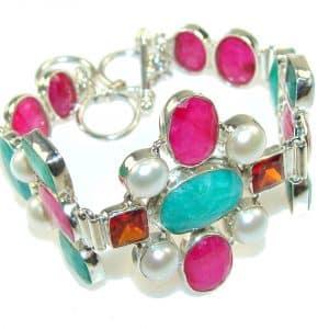 Beautiful Design!! Green Emerald Sterling Silver Bracelet