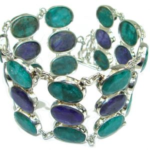 Beautiful! Green Emerald & Sapphire Sterling Silver Bracelet