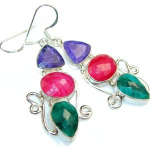 Fantasy Emerald Sterling Silver earrings