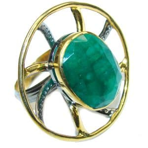 Gorgeous AAA Green Emerald, Rhodium Plated, Gold Plated Sterling Silver ring s. 11