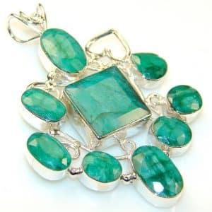 Minty Fresh Emerald Sterling Silver Pendant