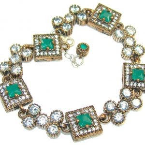 Outstanding Green Faceted Emerald Sterling Silver Bracelet