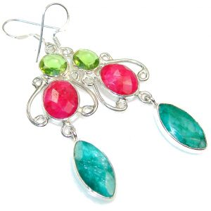 Party Green Emerald Sterling Silver earrings