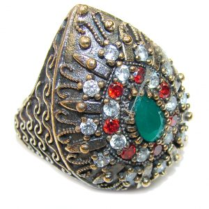 Victorian Style! Emerald & Garnet Quartz & White Topaz Sterling Silver Ring s. 7 1/4