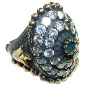 Victorian Style! Emerald & White Topaz Sterling Silver Ring s. 6 1/4