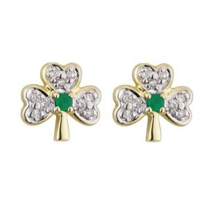 14ct Gold, Diamond & Emerald Shamrock Small Stud Earrings
