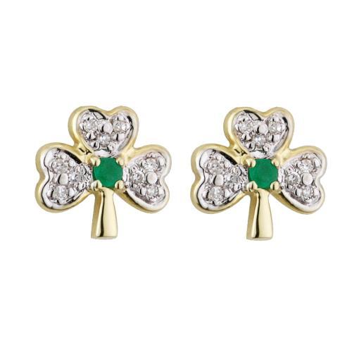 14ct Gold Diamond Emerald Shamrock Small Stud Earrings