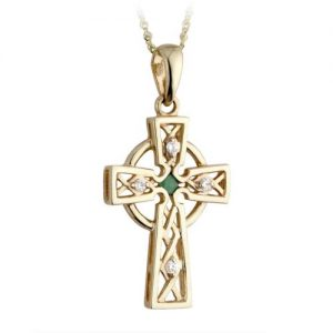 14ct Yellow Gold Celtic Cross Emerald and Diamond set Pendant and Chain