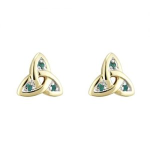 14ct Yellow Gold Trinity Knot and Emerald Stud Earrings