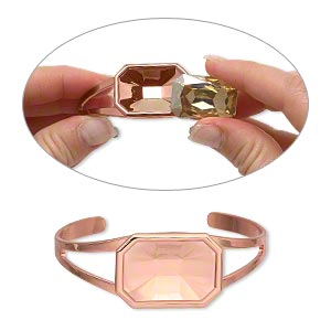 """Bracelet, Almost Instant Jewelry®, Cuff, Copper-plated Brass """"pewter"""" (zinc-based Alloy), 60x24mm 27x18.5mm Emerald-cut Setting, Adjustable. Sold Individually"""