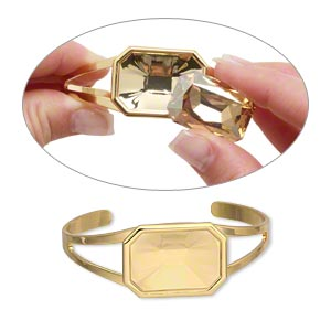 "Bracelet, Almost Instant Jewelry®, Cuff, Gold-plated Brass ""pewter"" (zinc-based Alloy), 60x24mm 27x18.5mm Emerald-cut Setting, Adjustable. Sold Individually"