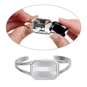 """Bracelet, Almost Instant Jewelry®, Cuff, Silver-plated Brass """"pewter"""" (zinc-based Alloy), 60x24mm 27x18.5mm Emerald-cut Setting, Adjustable. Sold Individually"""