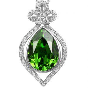Emerald Elegant Teardrop Shaped Pendant Necklace