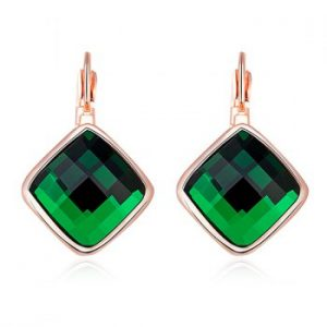 Artificial Emerald Geometric Earrings