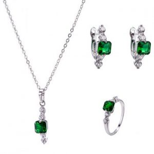Artificial Emerald Necklace Earrings and Ring