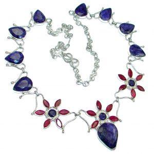 Breath Of Love Emerald & Sapphire Sterling Silver necklace