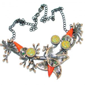 Exclusive craeted Fire Japanese Fire Opal Emerald Sterling Silver handmade Necklaces