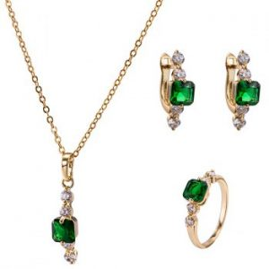 Faux Emerald Necklace Earrings and Ring