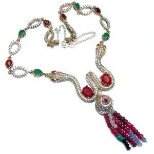 Victorian Style Snakes Green Emerald quartz & White Topaz Sterling Silver necklace