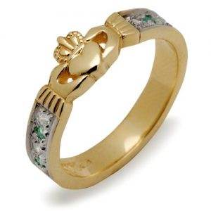 10ct Gold Irish Celtic Claddagh Ring with Emeralds & Cubic Zirconias