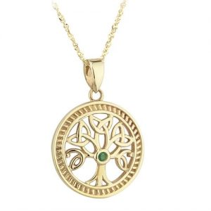 10ct Gold and Emerald Celtic Tree of Life Pendant