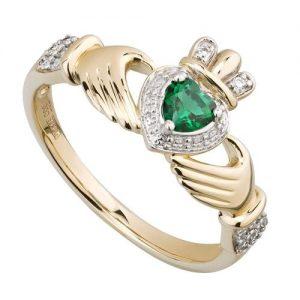 14ct Gold, Diamond & Emerald Irish Celtic Claddagh Ring