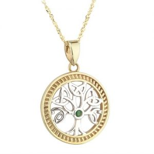 14ct Two Tone Gold and Emerald Celtic Tree of Life Pendant