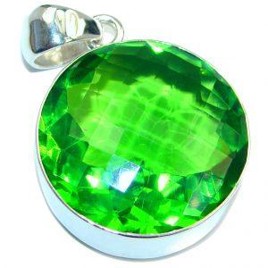 Amazing created Green Emerald color Quartz Sterling Silver Pendant