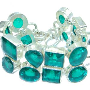 Amazing faceted Emerald color quartz Silver Tone Bracelet