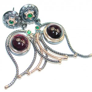 Charming Rhodolite Garnet Chrome Diopside Emerald Rose Gold plated over Sterling Silver stud earrings