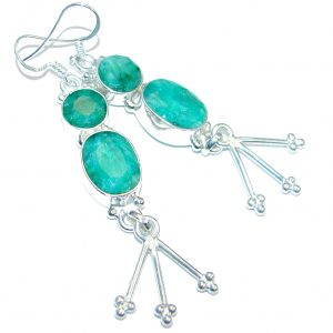 Chunky Emerald Silver Tone handcrafted earrings