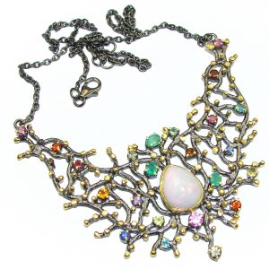 28 ct Authentic Ethiopian Opal Columbian Emeralds Gold Rhodium plated over Sterling Silver handmade necklace
