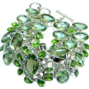 Blue Abundance Genuine Emerald Beauty Quartz Sterling Silver handmade Bracelet