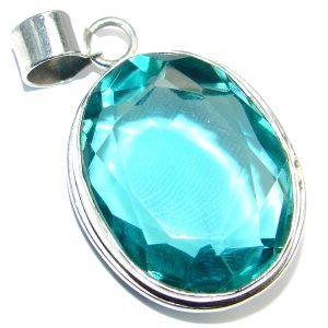 Amazing created Emerald color Quartz Sterling Silver Pendant