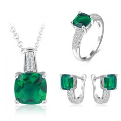 Faux Emerald Horseshoe Earrings Necklace and Ring