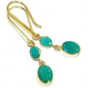 Authentic Emerald Rose Gold plated over .925 Sterling Silver handmade earrings