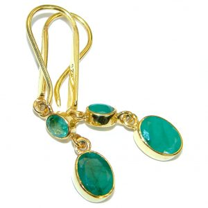 Authentic Emerald Gold plated over .925 Sterling Silver handmade earrings