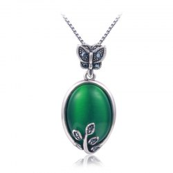 Faux Emerald Oval Butterfly Pendant Necklace