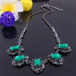 Faux Emerald Oval Alloy Pendant Necklace