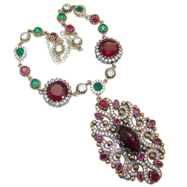 Huge Victorian created Ruby Emerald & White Topaz .925 Sterling Silver necklace