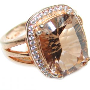 Emerald cut Morganite 14K Rose Gold over .925 Sterling Silver handcrafted ring s. 7 3/4