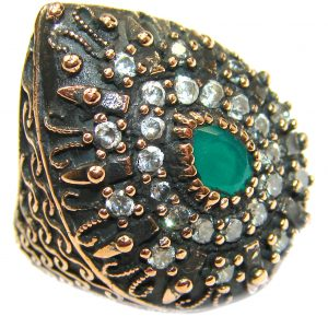Victorian Style created Emerald & White Topaz Copper over Sterling Silver ring; s. 4 3/4