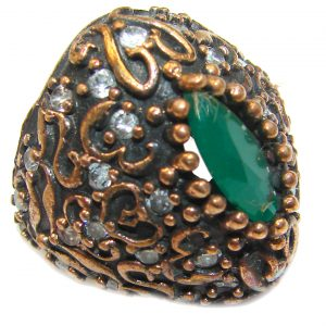 Victorian Style created Emerald & White Topaz Copper over Sterling Silver ring; s. 5 1/2