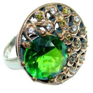Victorian Style created Emerald & White Topaz Copper over Sterling Silver ring; s. 8
