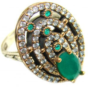 Victorian Style created Emerald & White Topaz Sterling Silver Ring s. 8