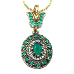 Victorian Style created Green Emerald .925 Sterling Silver necklace