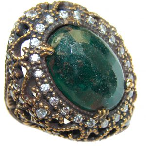 Huge Victorian Style created Emerald & White Topaz Copper over Sterling Silver ring; s. 7 1/2
